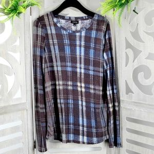 Who What Wear Long Sleeve Plaid Fall Top NEW